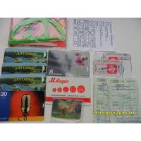 Телефонные карты, Билеты, магнитик, Египетский Алфавит и транспортир. (цена за все)