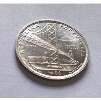 Португалия республика 20 эскудо 1966 г., мост Салазара в Лиссабоне /серебро/ AU/UNC