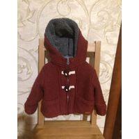 Стильная Zara кофта-пальто на 9-12 месяцев на рост 80 см, цвет бордо, крупная вязка, на замке.  Унисекс, очень теплая, на утеплении. Длина 30 см, длина рукава 25 см (можно закасывать рукавчик), ПОгруд