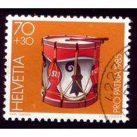 1 марка 1985 год Швейцария Барабан 1299
