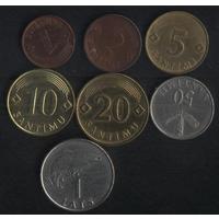 Латвия 1,2,5,10,20,50 сантимов 1 лат 1992-2009 г. (*к-т). Сохран!!!
