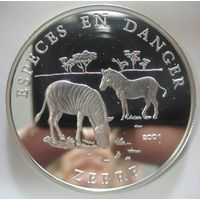 Бенин. 1000 франков 2001. Зебры. Серебро (70)