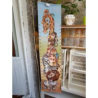 Гобеленовый коврик со зверушками на стену для измерения роста детей