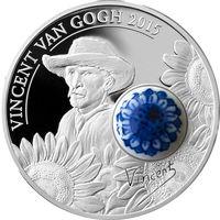 """Острова Кука 10 долларов 2015г. Вторая монета серии Royal Delft: """"125-ти летие. Винсент Ван Гог"""".  Монета в капсуле, подарочном футляре; номерной сертификат; коробка. СЕРЕБРО 50гр."""