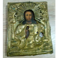 Икона ИИСУС ХРИСТОС 19 век. Литография на дереве в окладе 10.5*12.5 см (13*11 см в окладе)