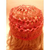 Винтажная летняя женская вязанная шапочка с четырьмя кисточками.Первая половина XX-го века.