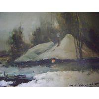 """Картина.Масло.Холст.Henri  Joseph Pauwels.""""Зима"""""""
