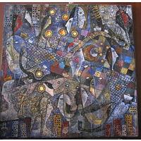 "Картина ""Fishing horses"", авторская работа (холст, масло, поталь)"
