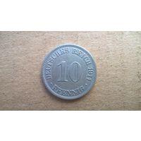 """Германская империя 10 пфеннигов, 1911""""А"""" (D-21)"""
