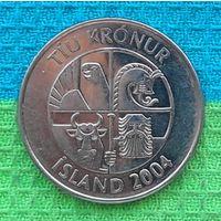 Исландия 10 крон 2004 года.